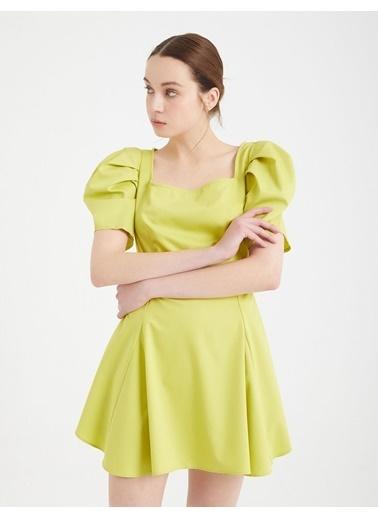 BGN Lime - Balon Kol Mini Elbise Renkli